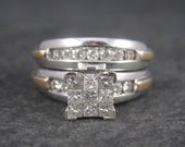Vintage 14K .87 Carat Diamond Engagement Wedding Ring Bridal Set Size 6