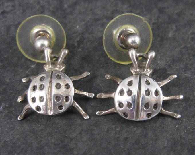 Vintage Navajo Ladybug Dangle Earrings Sterling Ervin Hoskie