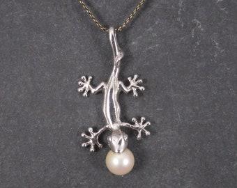 Vintage Sterling Pearl Salamander Pendant Necklace
