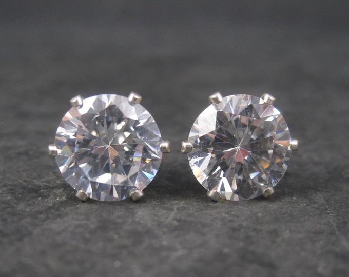 April Birthstone Sterling Stud Earrings 10mm