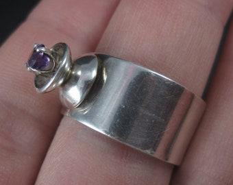Vintage Sterling High Set Amethyst Ring Size 6.5