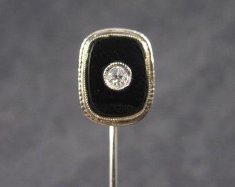 Antique 14K Diamond Onyx Mourning Stick Pin