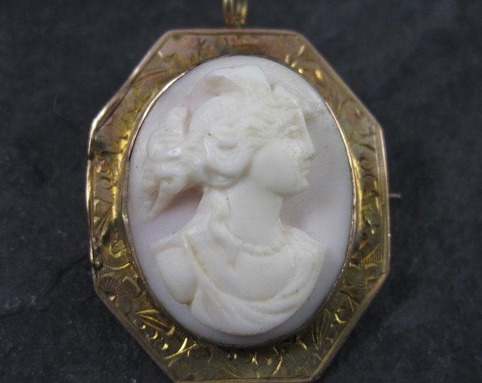 Antique 10K Carved Pink Cameo Brooch Pendant