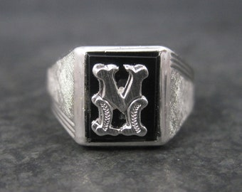 Vintage Sterling Onyx Initial M Ring Size 9 New Old Stock