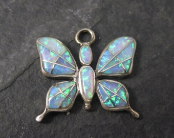 Vintage Sterling Opal Inlay Butterfly Charm