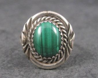 Vintage Southwestern Sterling Malachite Ring Size 7
