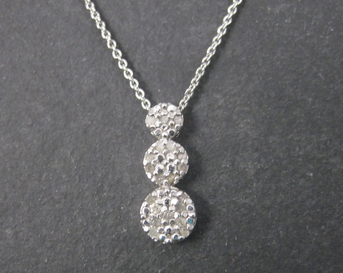 Small Vintage Sterling Diamond Pendant Necklace