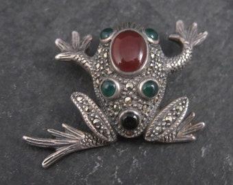 Vintage Sterling Carnelian Onyx Marcasite Frog Pendant