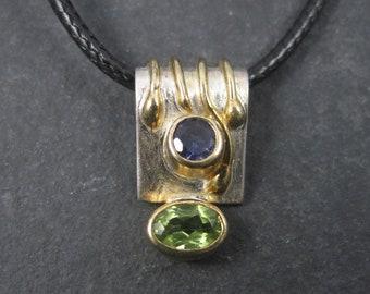 90s Vintage Iolite Peridot Pendant Sterling and Vermeil