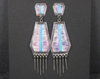 Long Vintage Zuni Wampum Turquoise Inlay Earrings