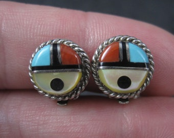 Vintage Sterling Zuni Inlay Sunface Clip On Earrings