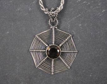 Vintage Smoky Topaz Spiderweb Pendant Necklace Spider Web