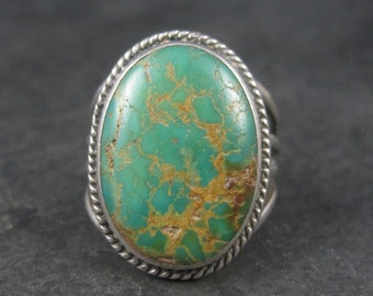 Large Vintage Southwestern Sterling Green Turquoise Ring Size 7