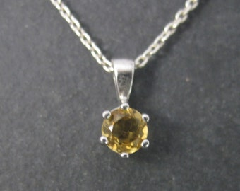 Vintage Sterling .25 Carat Citrine Solitaire Pendant Necklace