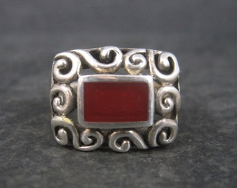 Vintage Filigree Sterling Carnelian Ring Size 8