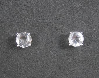 Vintage Sterling 6mm White Topaz Stud Earrings