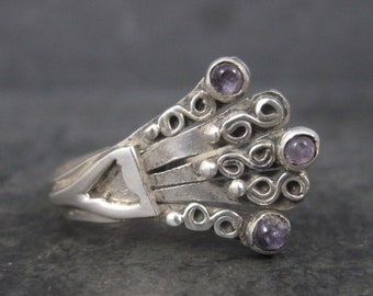 Unusual Mexican Sterling Amethyst Ring Adjustable Size 7