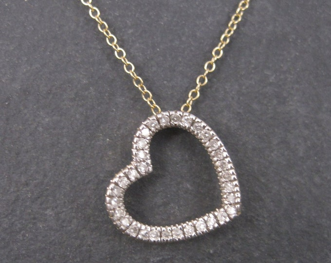 Vintage 14K Diamond Heart Pendant Necklace