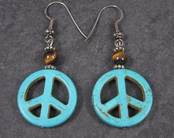 Turquoise Howlite Peace Sign Earrings