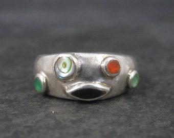Vintage Sterling Multi Gemstone Ring Size 6.5