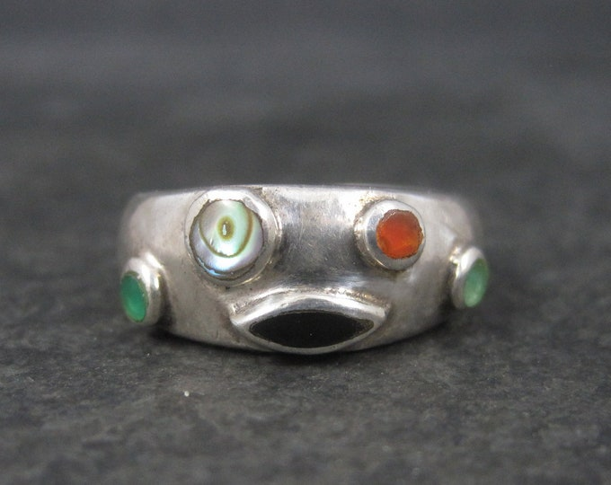 Vintage Sterling Multi Gemstone Ring Size 6.5