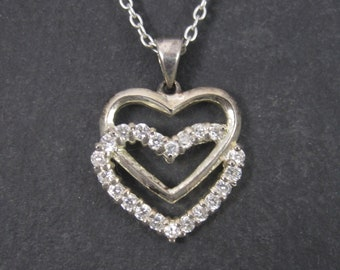 Vintage Sterling Heart Pendant Necklace Cubic Zirconia