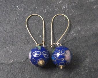 Vintage 14K Blue Cloisonne Bead Earrings