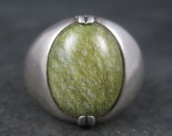 Mens Vintage Sterling Epidote Gemstone Ring Size 11