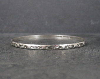 Vintage Mexican Sterling Southwestern Style Bangle Bracelet 8 Inches