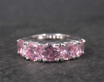 Vintage White Gold Plated Pink Cubic Zirconia 5 Stone Ring Size 6