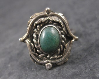 Vintage Navajo Green Turquoise Ring Sterling Size 6