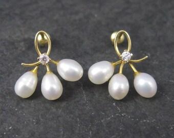 Vintage 14K Diamond Pearl Earrings
