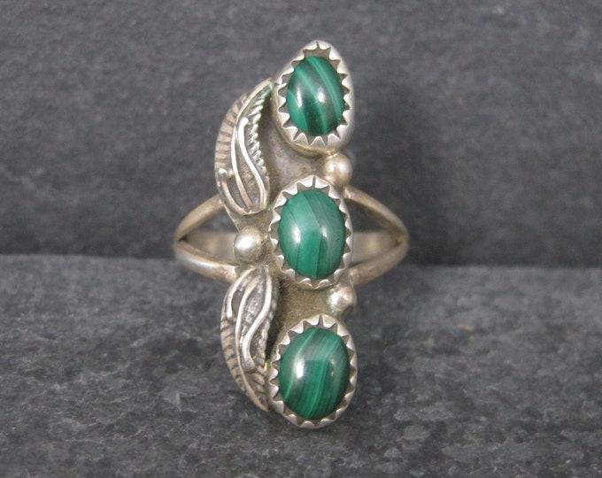 Vintage Southwestern Sterling Malachite Feather Ring Size 5.75