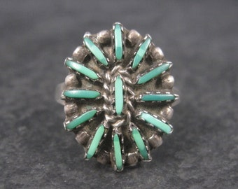 Dainty Vintage Sterling Zuni Needlepoint Malachite Ring Size 7