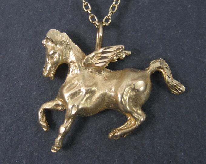 Vintage 14K Pegasus Pendant Winged Horse Necklace