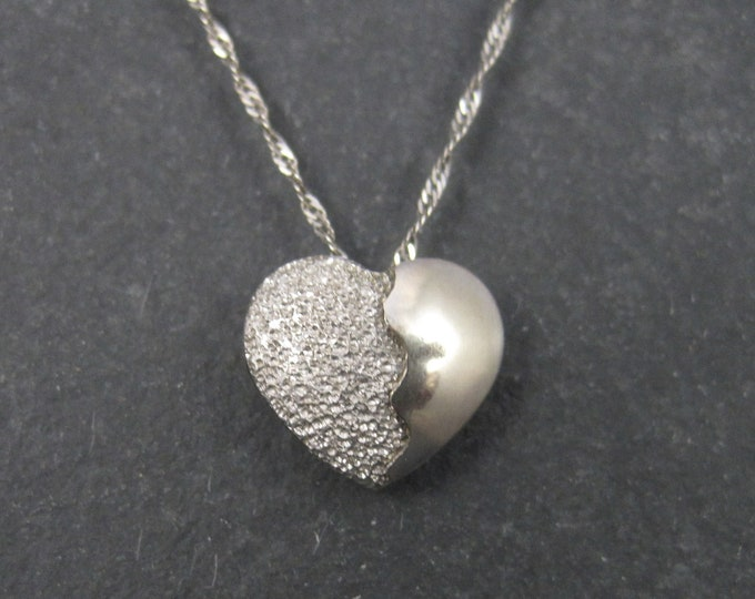 Vintage Italian 10K White Gold Heart Pendant Necklace