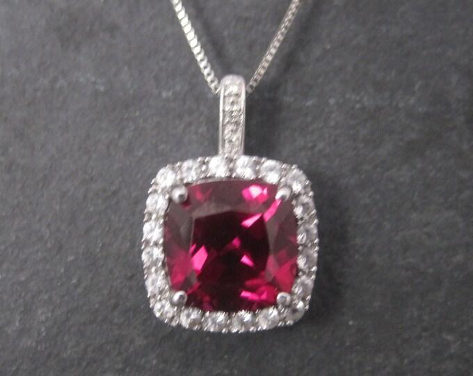 Vintage 10K Pink Sapphire Pendant Necklace