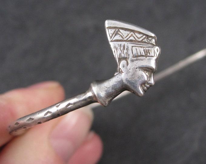 Large Vintage Sterling Egyptian Nefertiti Cuff Bracelet 8.5 Inches