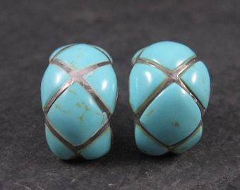Vintage Faux Turquoise Half Hoop Earrings Sterling