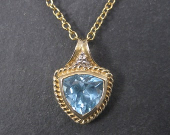 Vintage 10K 3.7 Carat Swiss Topaz Pendant Necklace