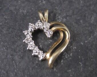 Dainty Vintage 10K Diamond Heart Pendant