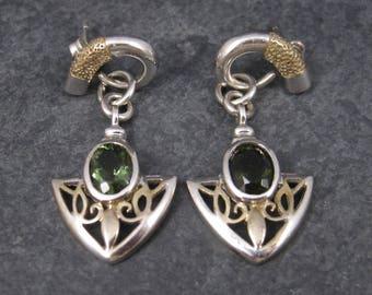Vintage Sterling 18K Diopside Earrings