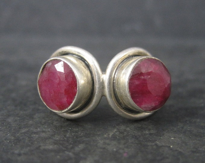 Vintage Sterling Raw Ruby Ring Size 7.5