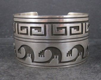 Extra Wide Hopi Sterling Cuff Bracelet 7 Inches