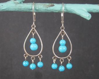 Vintage Sterling Blue Bead Dangle Earrings