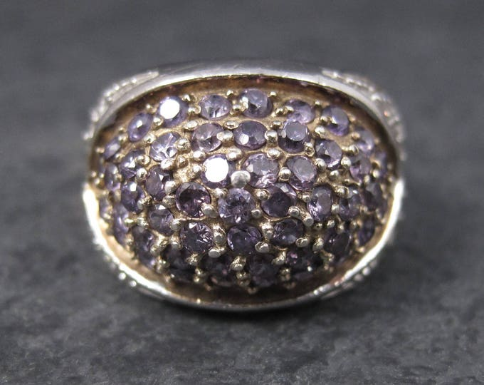90s Amethyst Dome Ring Sterling Size 7