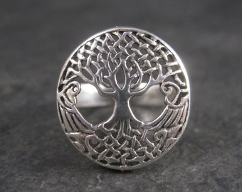 Vintage 90s Sterling Tree of Life Ring Size 8