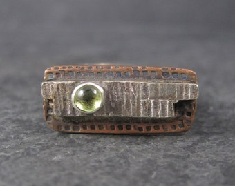 Vintage Modern Sterling Copper Peridot Ring Size 7