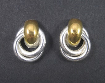 Vintage Circle Y Two Tone Knot Earrings