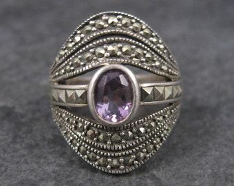 Vintage Sterling Amethyst Marcasite Ring Sz 7
